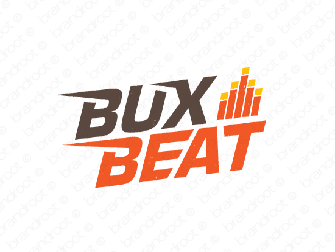 Buxbeat logo design included with business name and domain name, Buxbeat.com.
