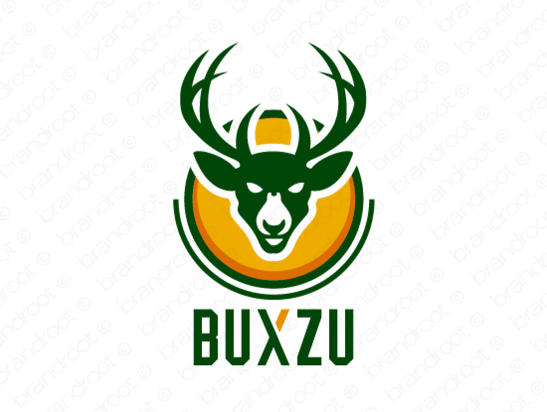 Buxzu logo design included with business name and domain name, Buxzu.com.