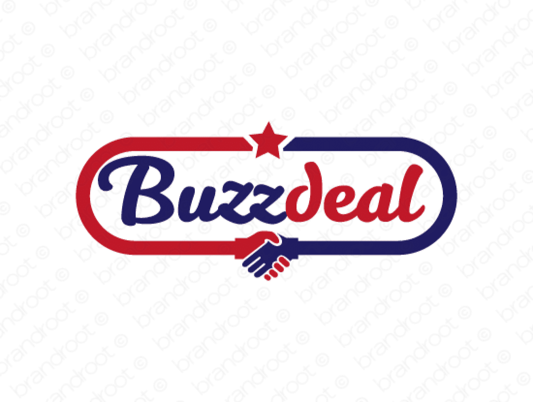 Buzzdeal logo design included with business name and domain name, Buzzdeal.com.