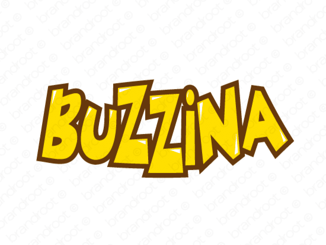 Buzzina logo design included with business name and domain name, Buzzina.com.