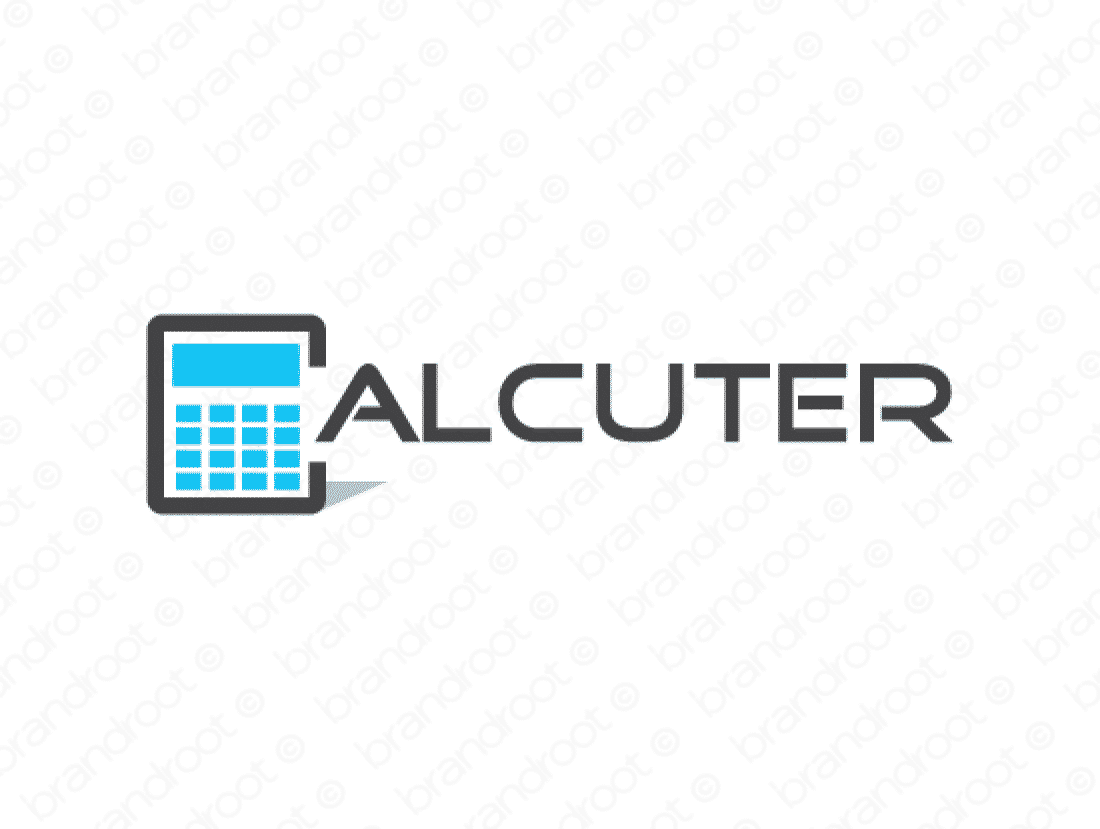 Calcuter logo design included with business name and domain name, Calcuter.com.