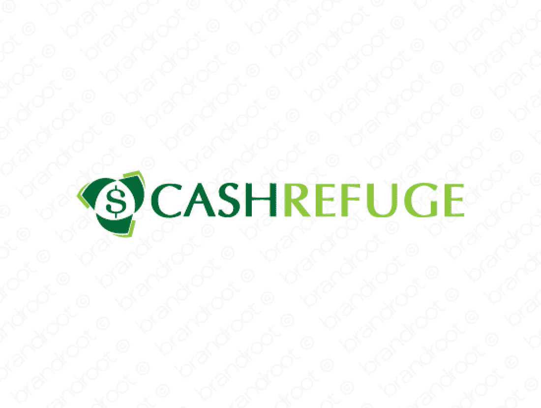 Cashrefuge logo design included with business name and domain name, Cashrefuge.com.