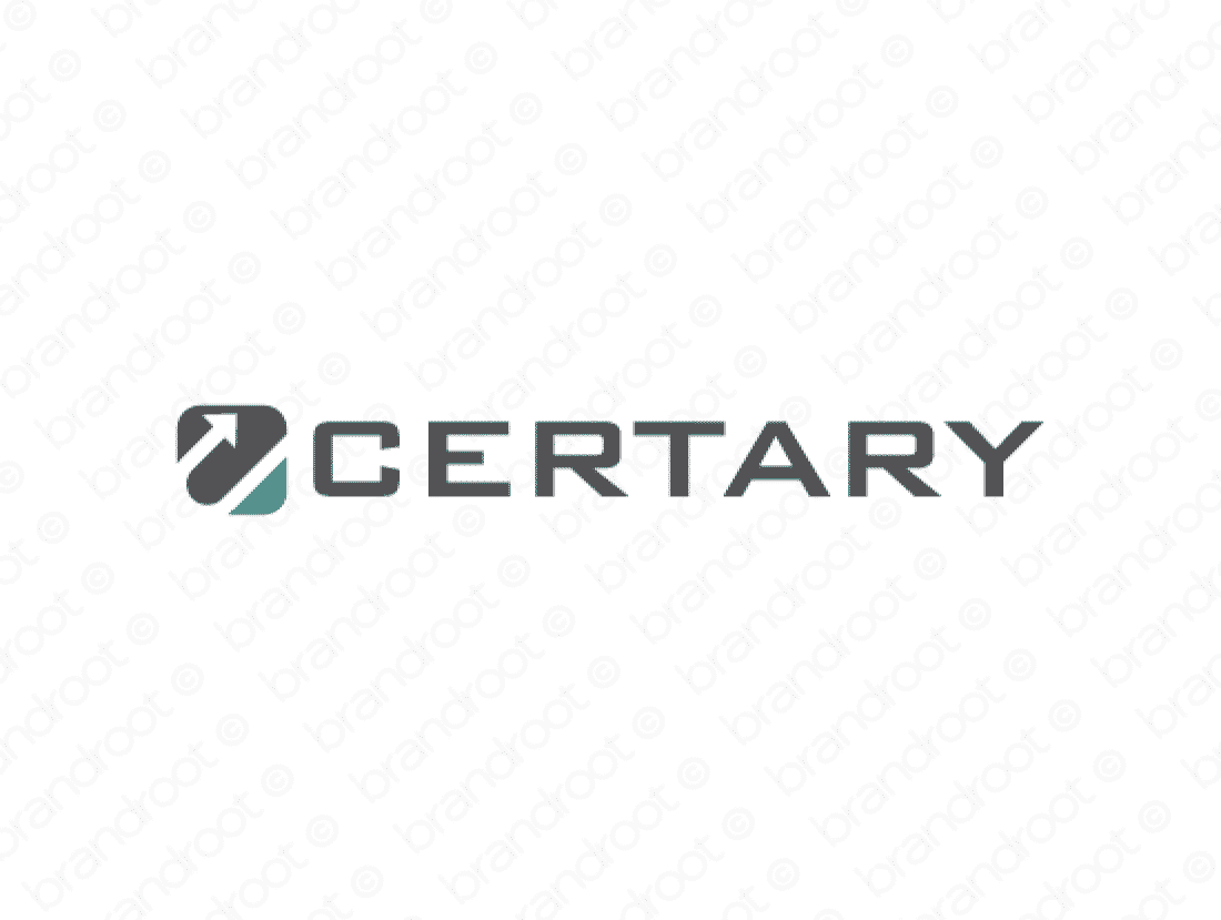 Certary logo design included with business name and domain name, Certary.com.