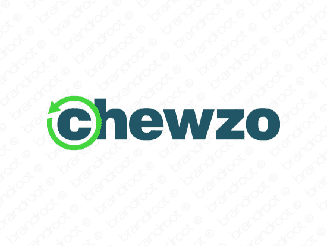 Chewzo logo design included with business name and domain name, Chewzo.com.