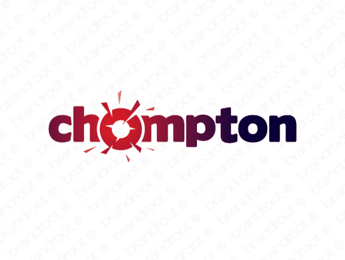 Chompton logo design included with business name and domain name, Chompton.com.
