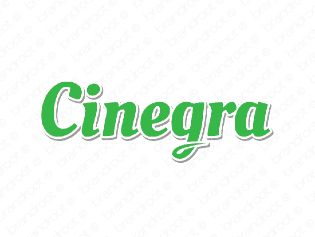 Cinegra logo design included with business name and domain name, Cinegra.com.