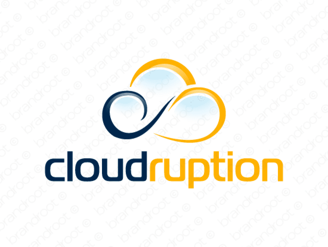 Cloudruption logo design included with business name and domain name, Cloudruption.com.