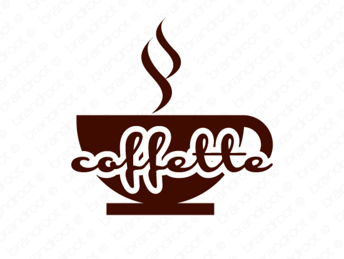 Coffette logo design included with business name and domain name, Coffette.com.