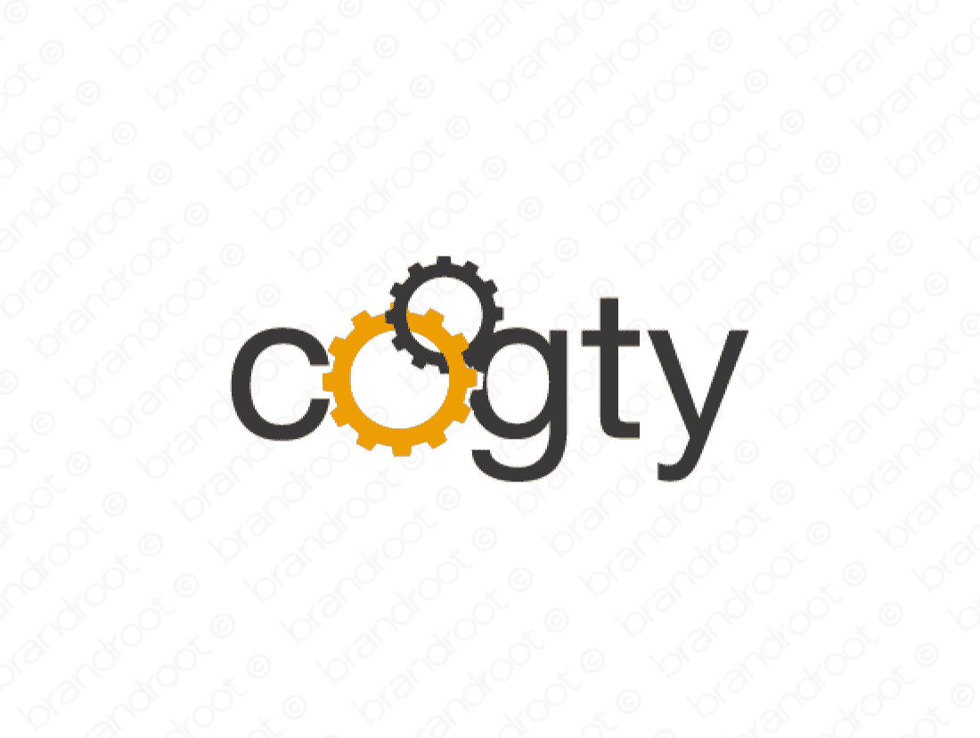 Cogty logo design included with business name and domain name, Cogty.com.