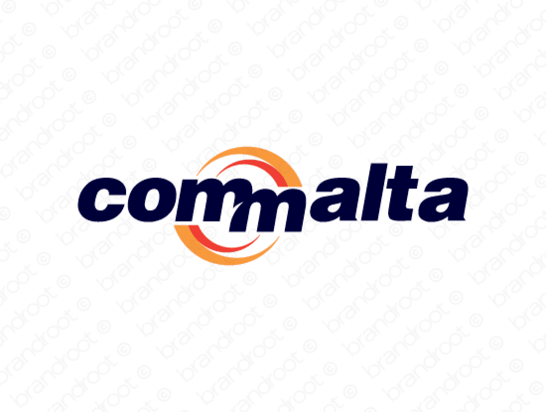 Commalta logo design included with business name and domain name, Commalta.com.