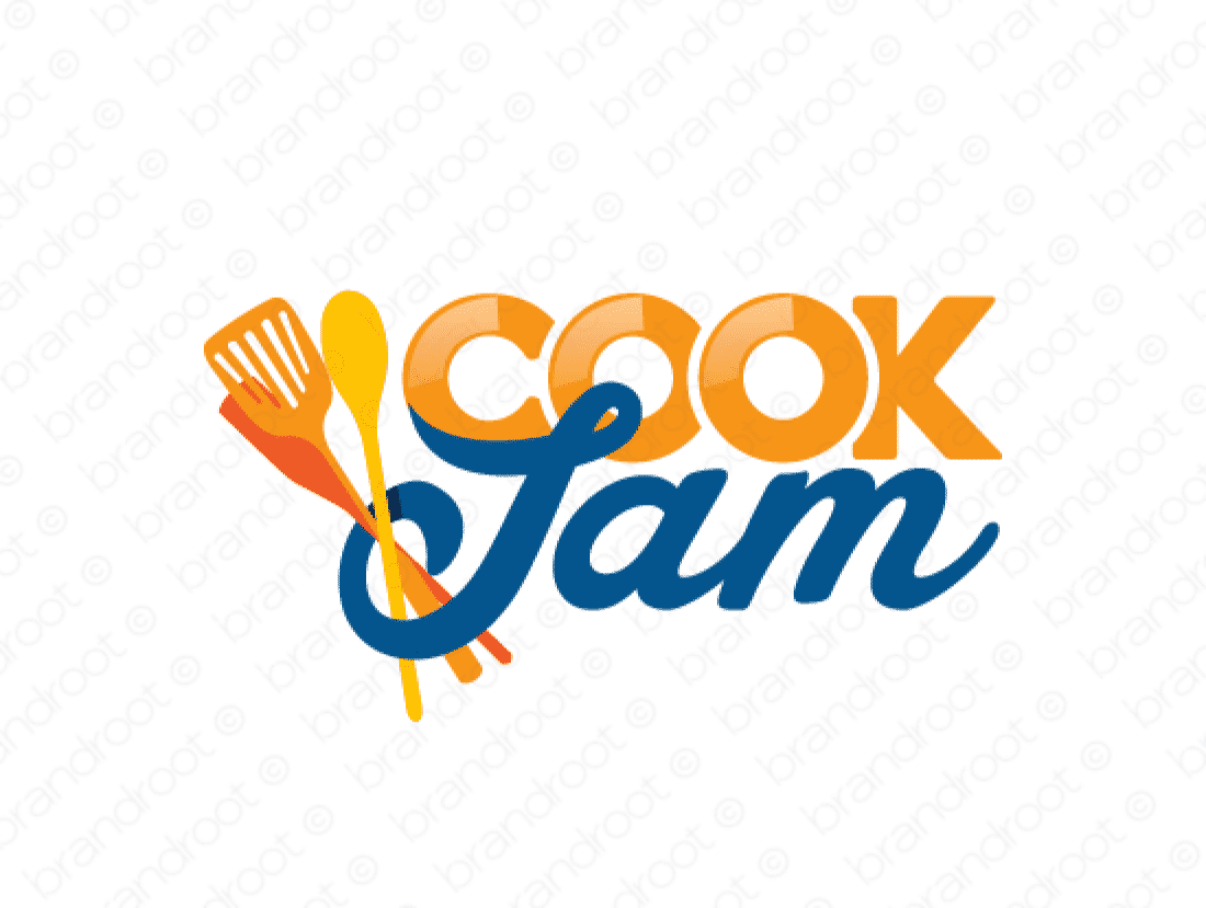 Cookjam logo design included with business name and domain name, Cookjam.com.