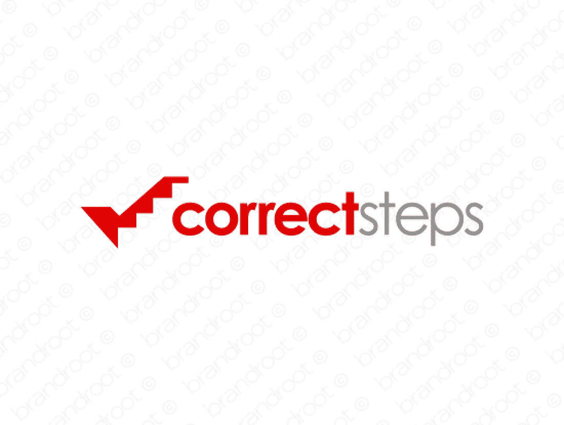 Correctsteps logo design included with business name and domain name, Correctsteps.com.