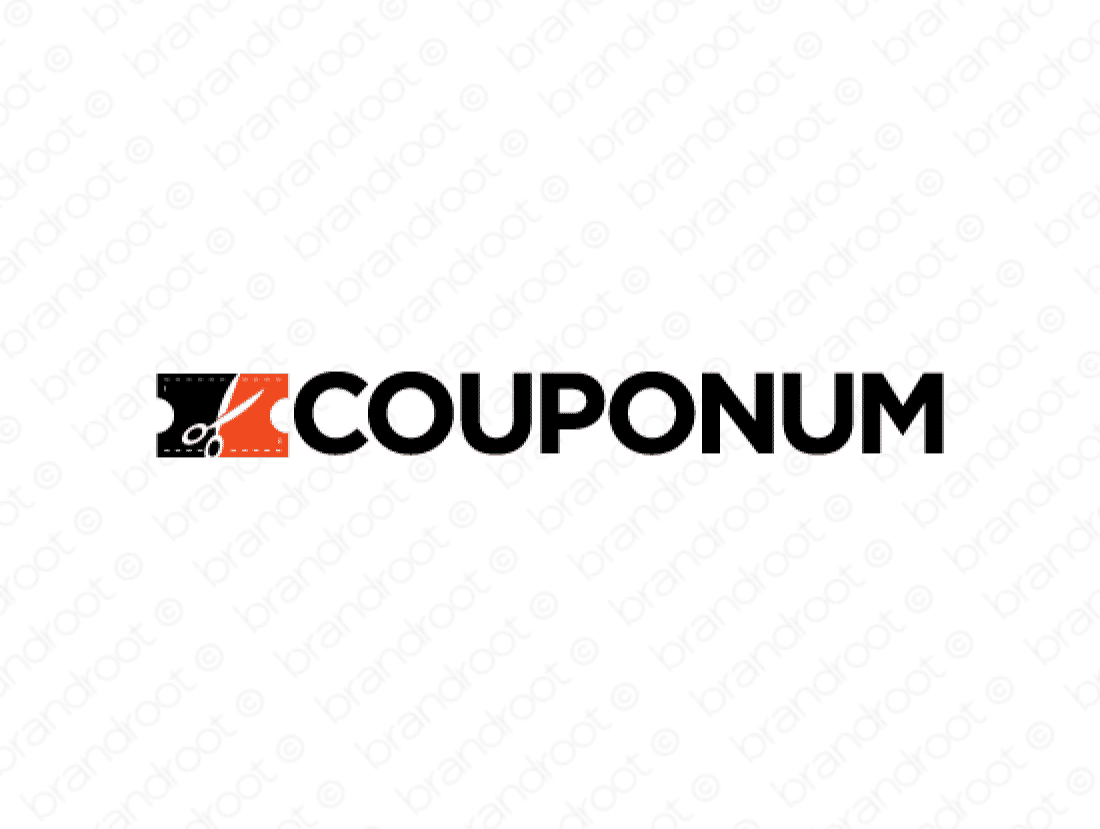 Couponum logo design included with business name and domain name, Couponum.com.