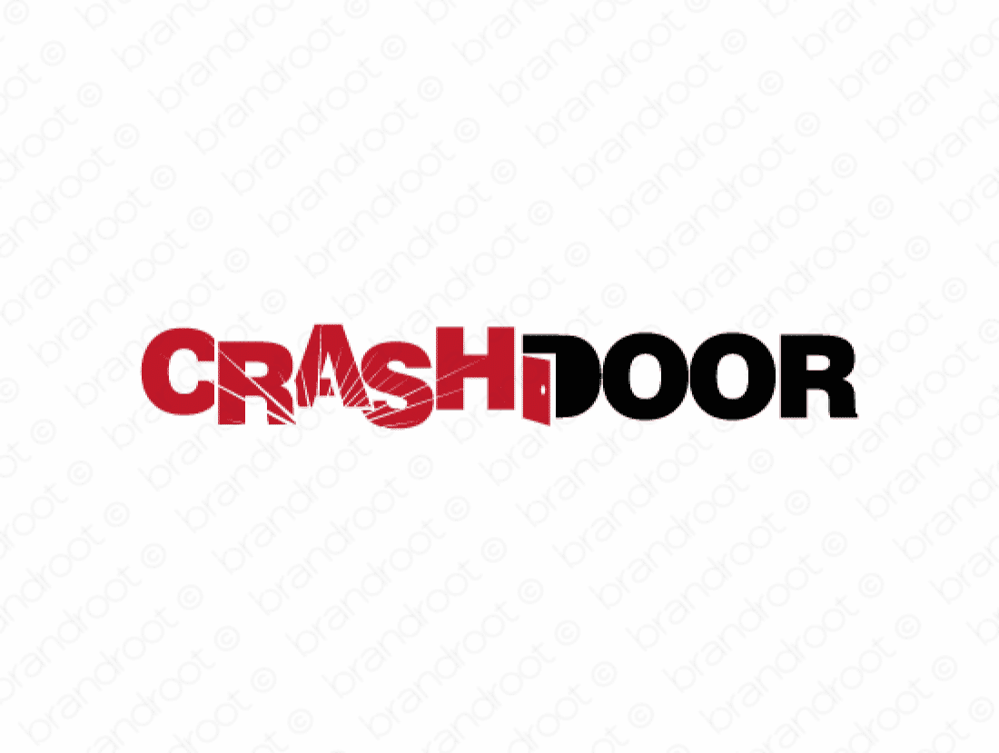 Crashdoor logo design included with business name and domain name, Crashdoor.com.