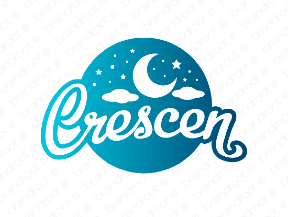 Crescen logo design included with business name and domain name, Crescen.com.