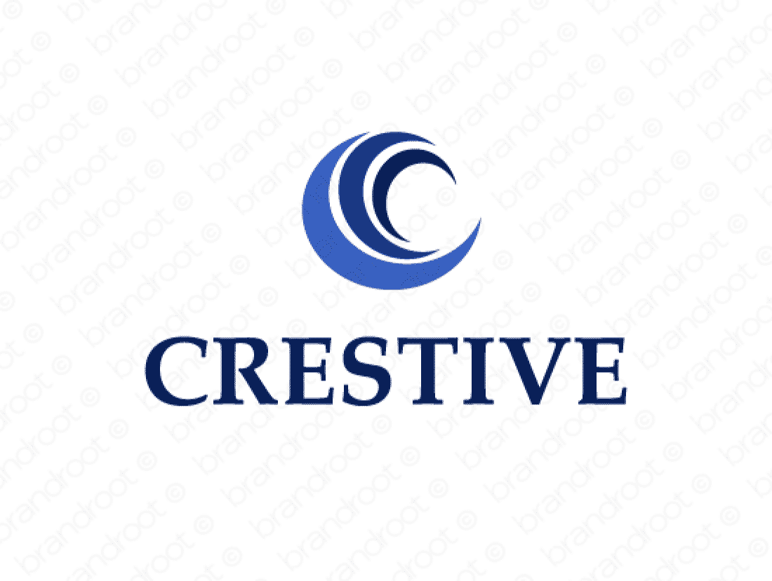 Crestive logo design included with business name and domain name, Crestive.com.