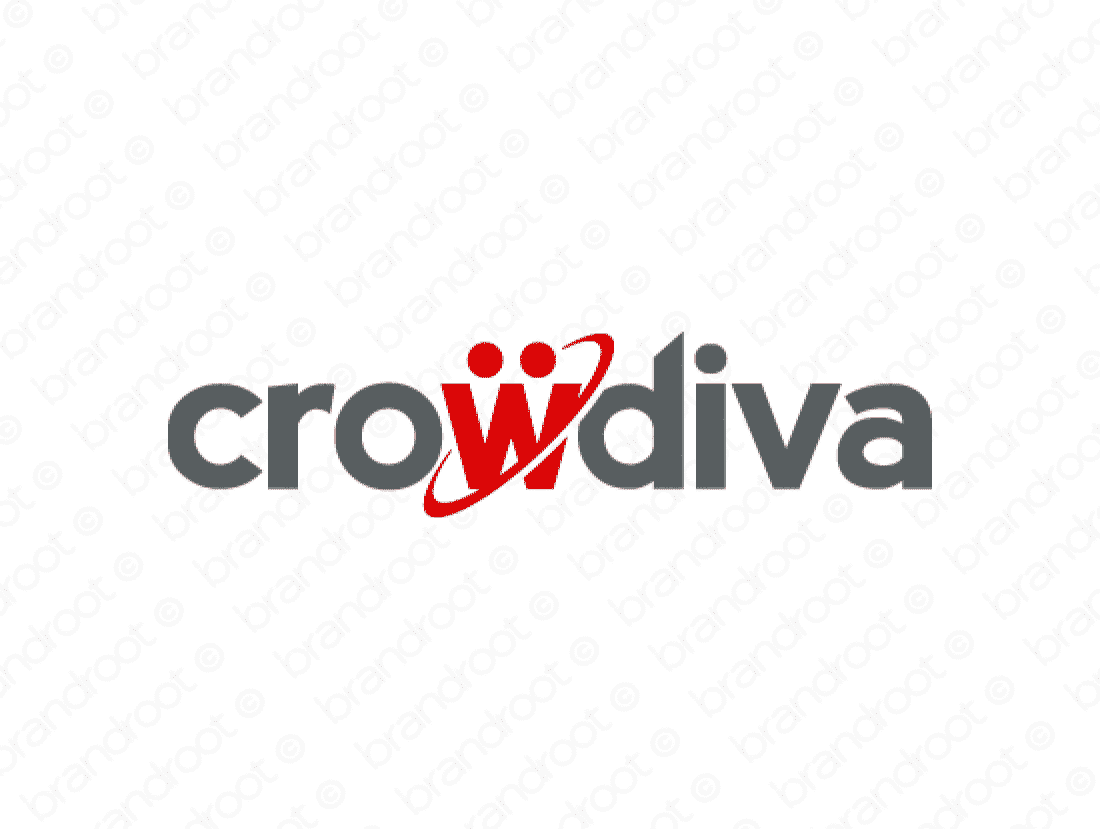 Crowdiva logo design included with business name and domain name, Crowdiva.com.