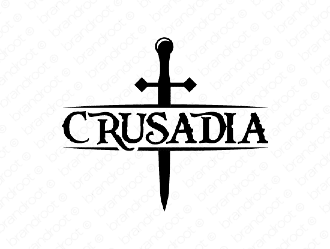 Crusadia logo design included with business name and domain name, Crusadia.com.