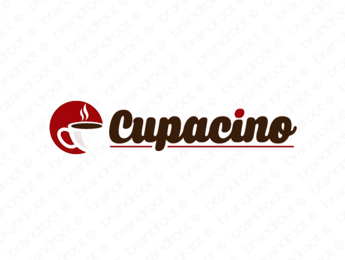 Cupacino logo design included with business name and domain name, Cupacino.com.