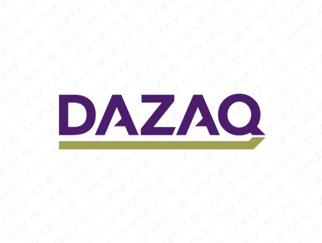 Dazaq logo design included with business name and domain name, Dazaq.com.