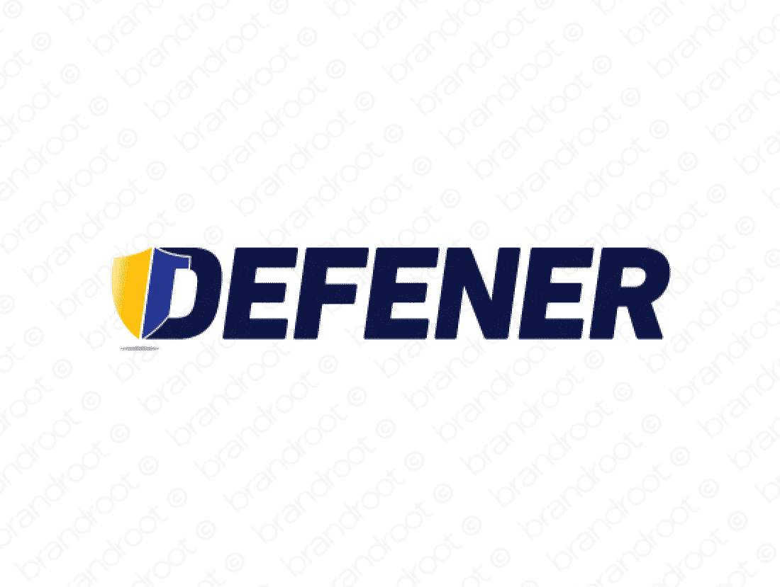 Defener logo design included with business name and domain name, Defener.com.