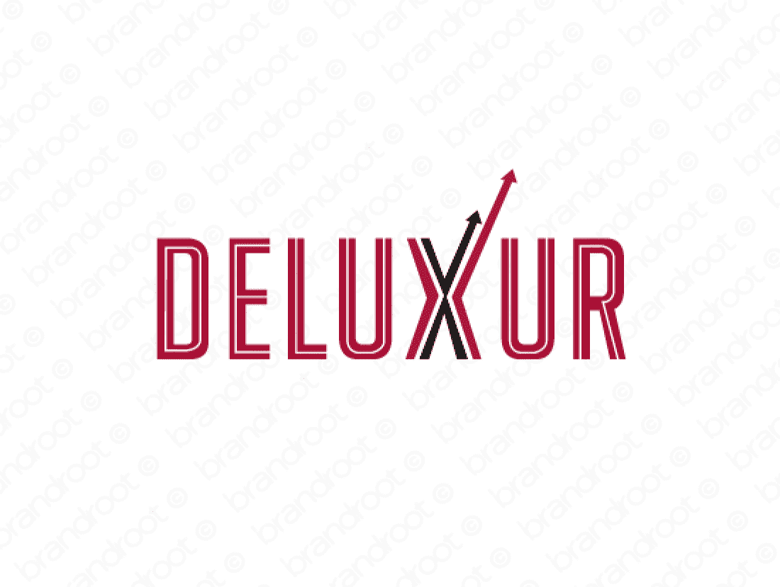 Deluxur logo design included with business name and domain name, Deluxur.com.