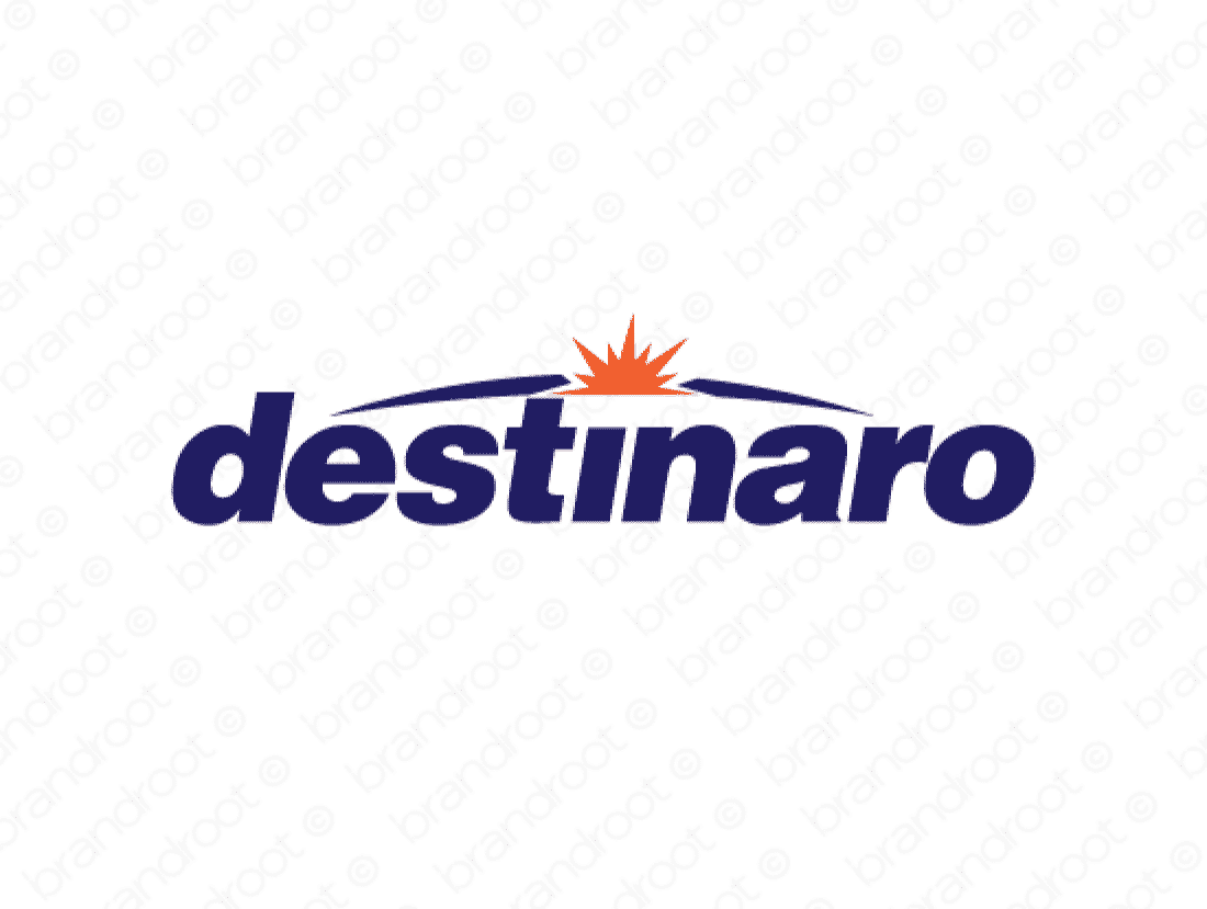 Destinaro logo design included with business name and domain name, Destinaro.com.