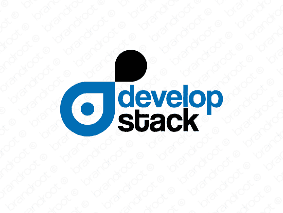 Developstack logo design included with business name and domain name, Developstack.com.