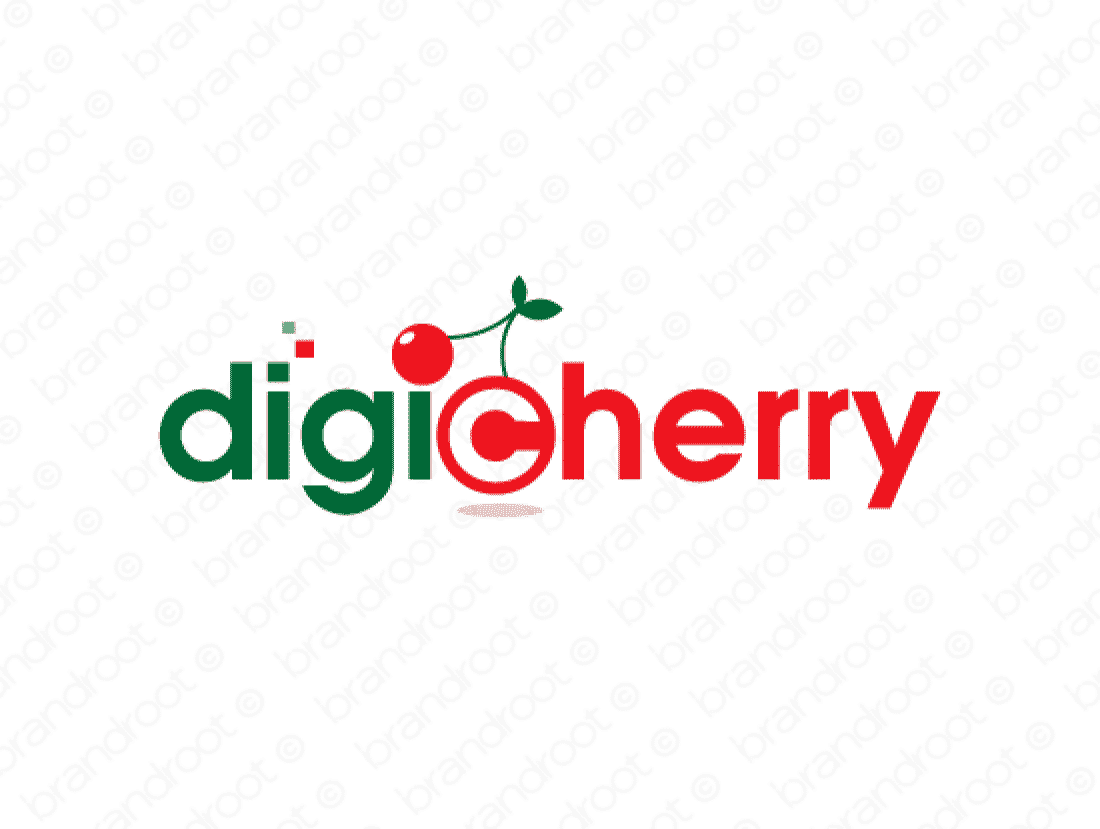 Digicherry logo design included with business name and domain name, Digicherry.com.