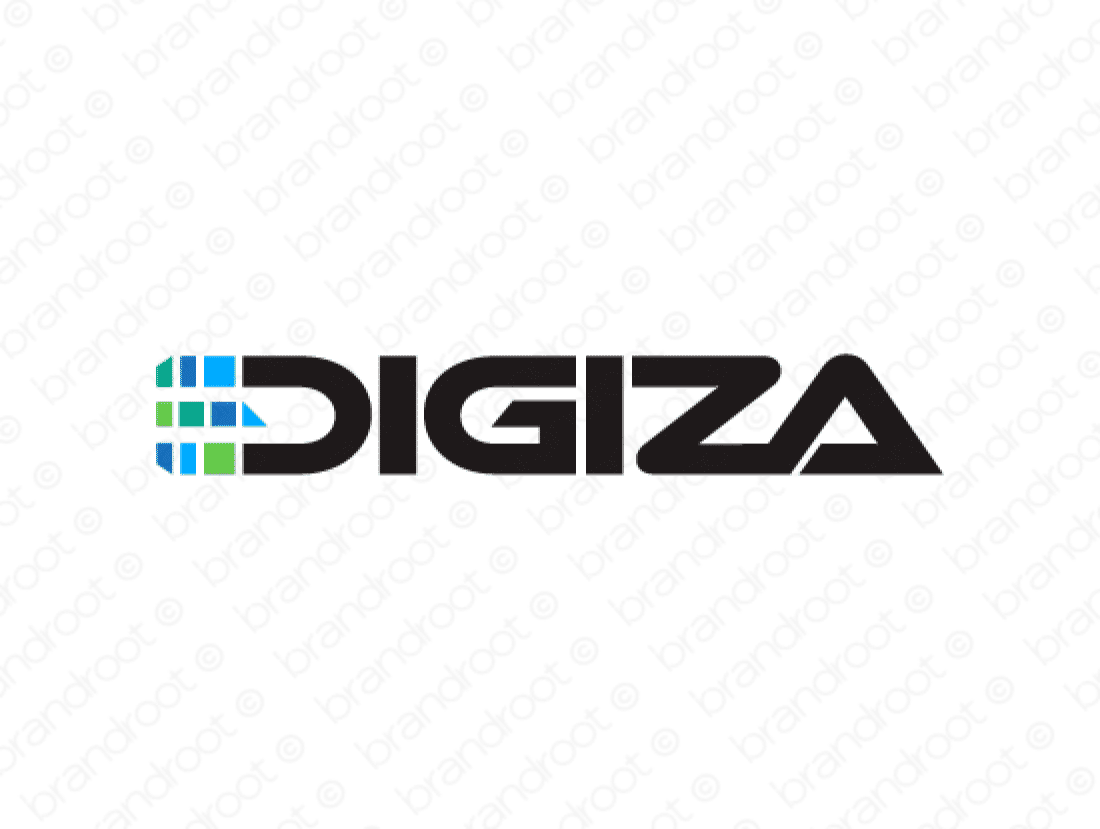 Digiza logo design included with business name and domain name, Digiza.com.