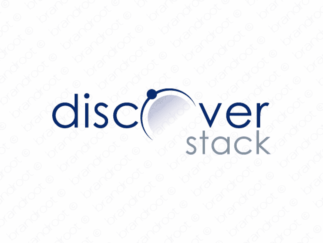 Discoverstack logo design included with business name and domain name, Discoverstack.com.