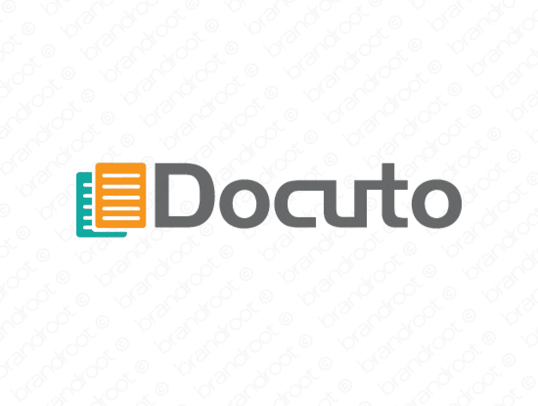Docuto logo design included with business name and domain name, Docuto.com.