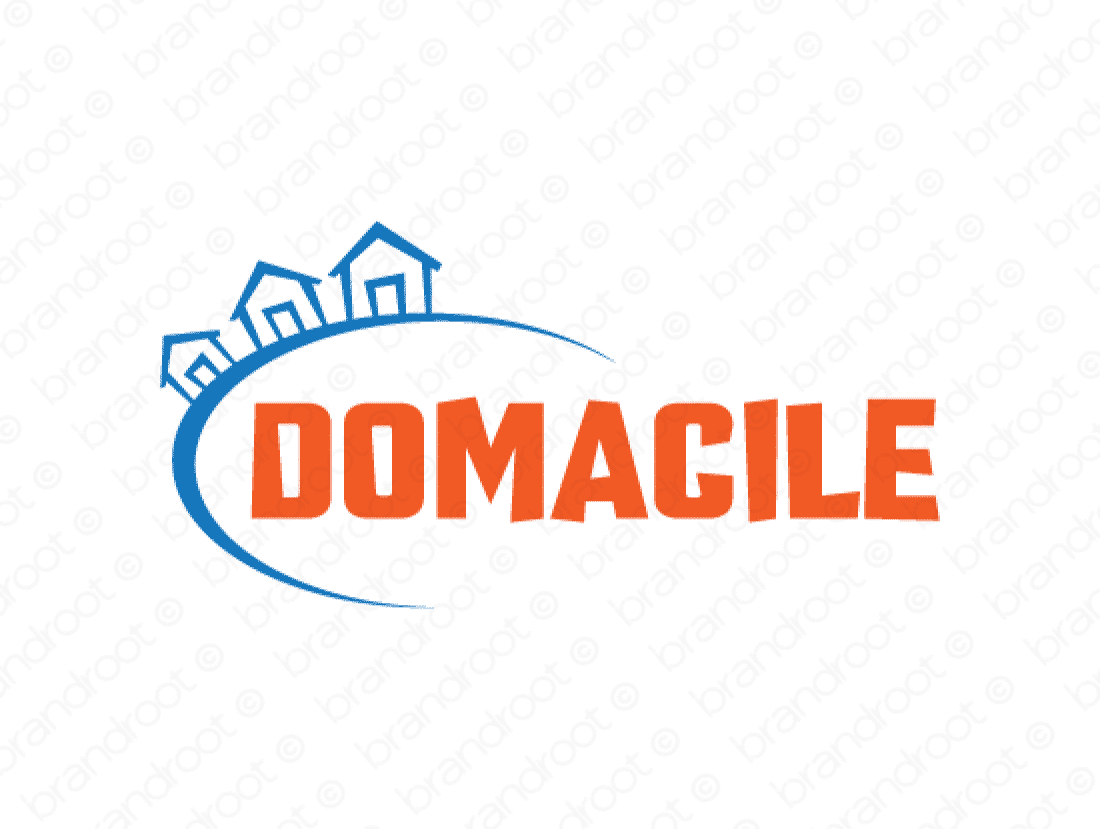 Domacile logo design included with business name and domain name, Domacile.com.