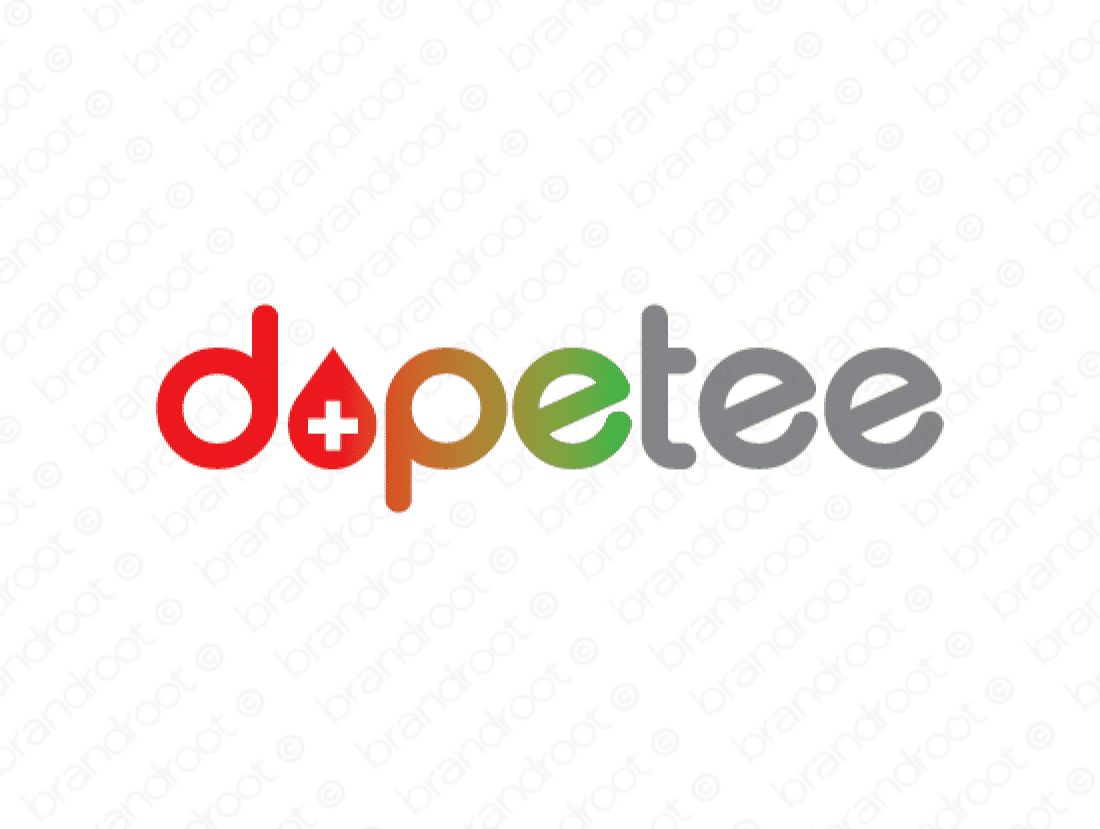 Dopetee logo design included with business name and domain name, Dopetee.com.