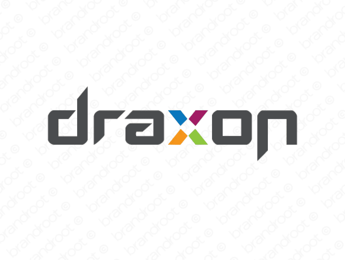 Draxon logo design included with business name and domain name, Draxon.com.