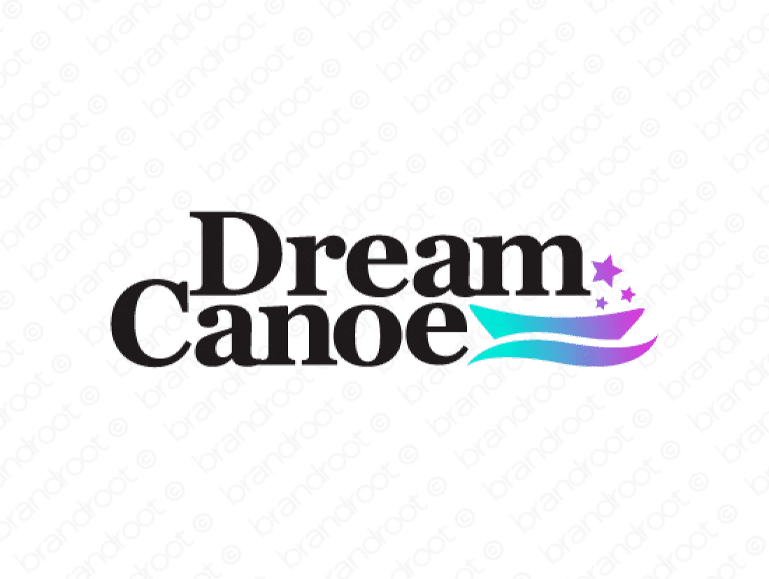 Dreamcanoe logo design included with business name and domain name, Dreamcanoe.com.