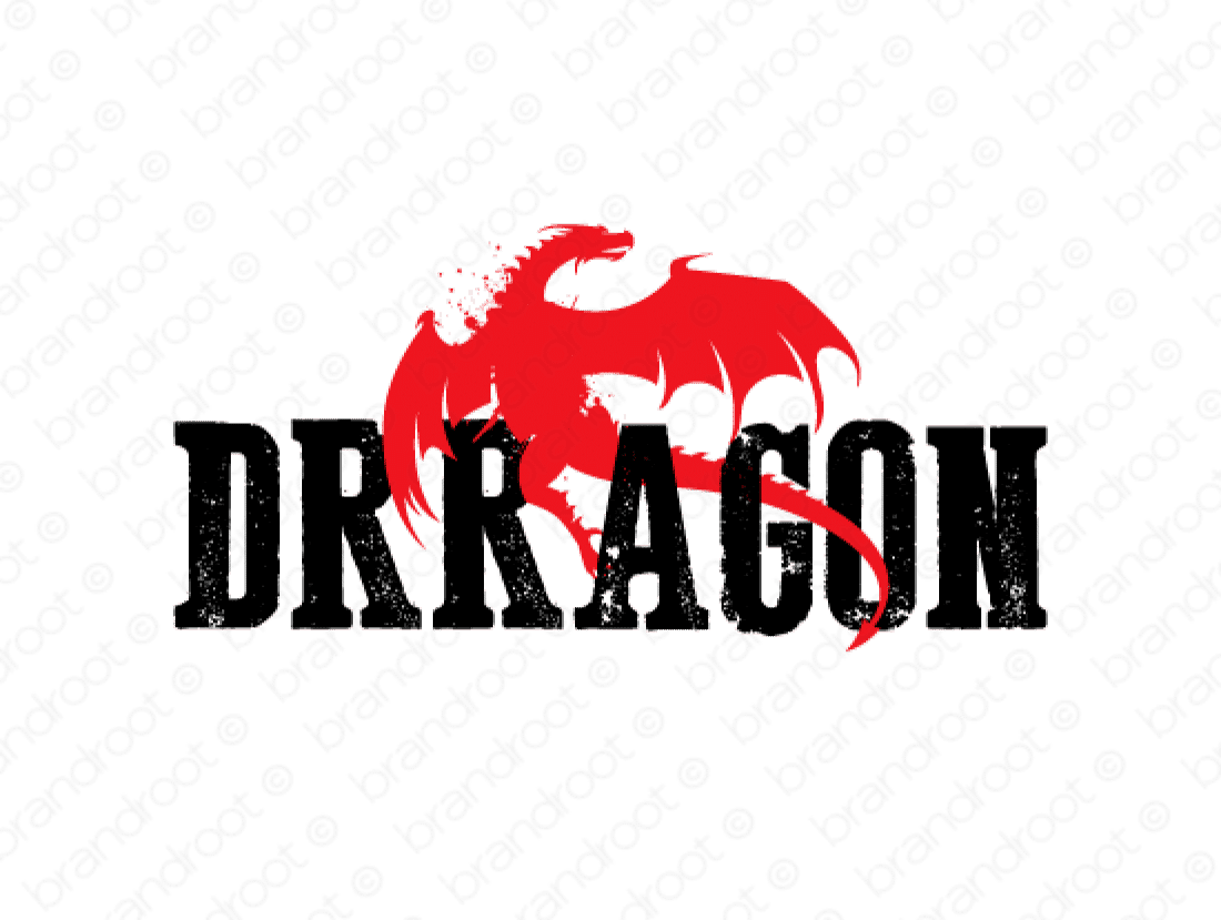 Drragon logo design included with business name and domain name, Drragon.com.