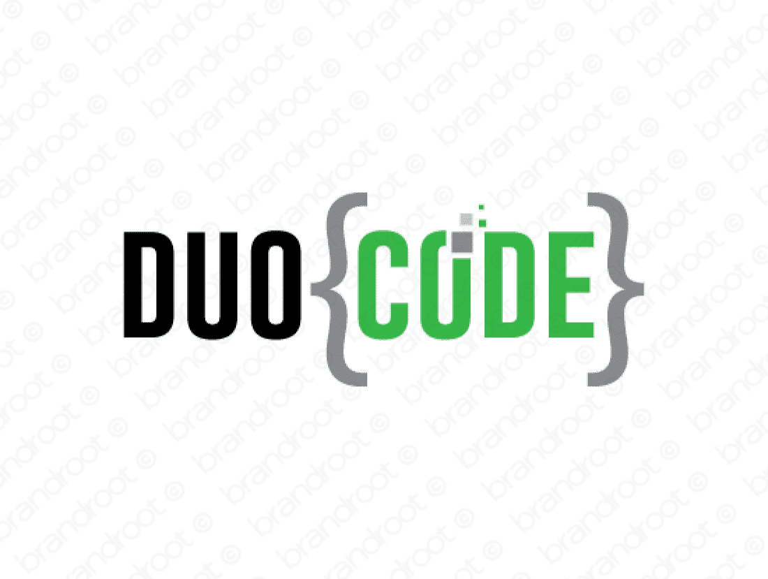 Duocode logo design included with business name and domain name, Duocode.com.