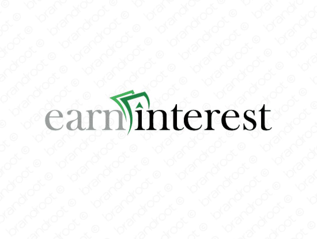 Earninterest logo design included with business name and domain name, Earninterest.com.