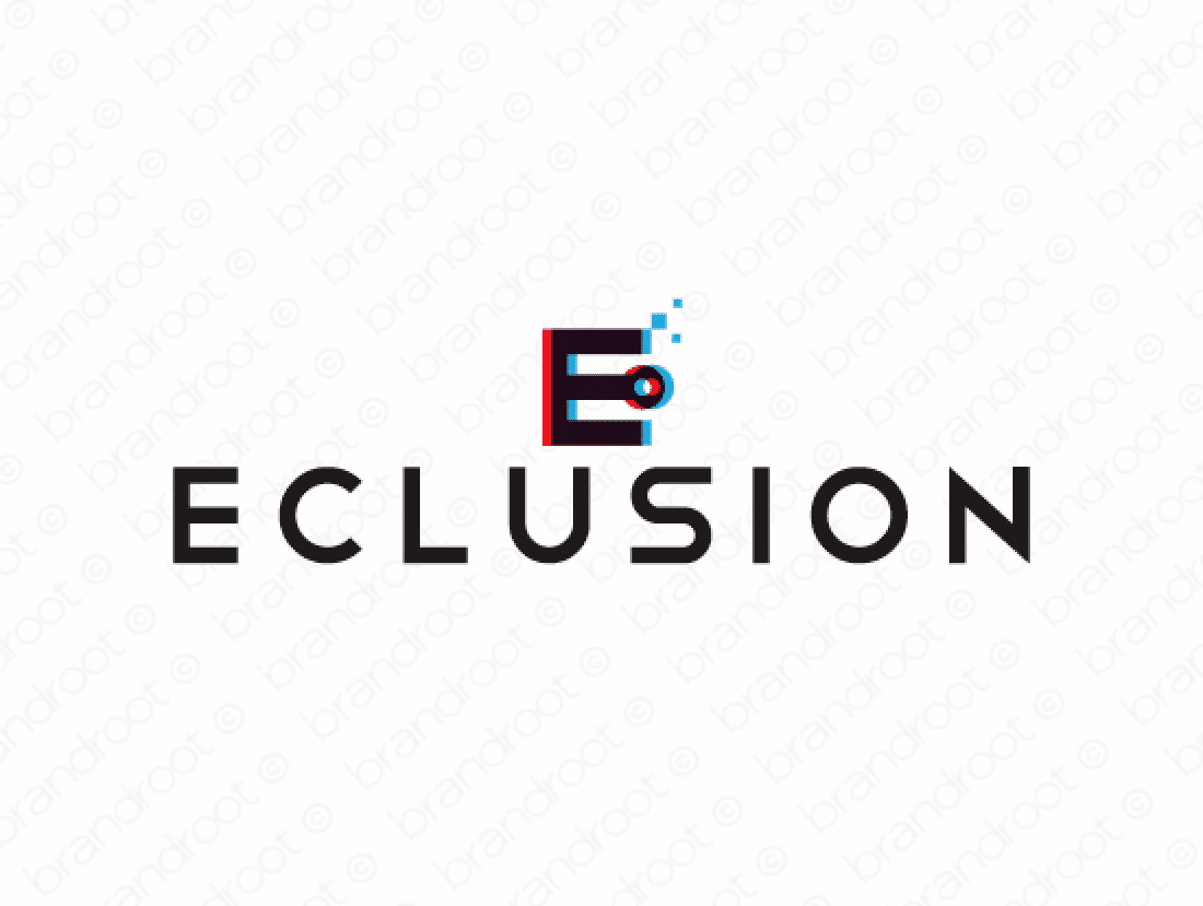 Eclusion logo design included with business name and domain name, Eclusion.com.