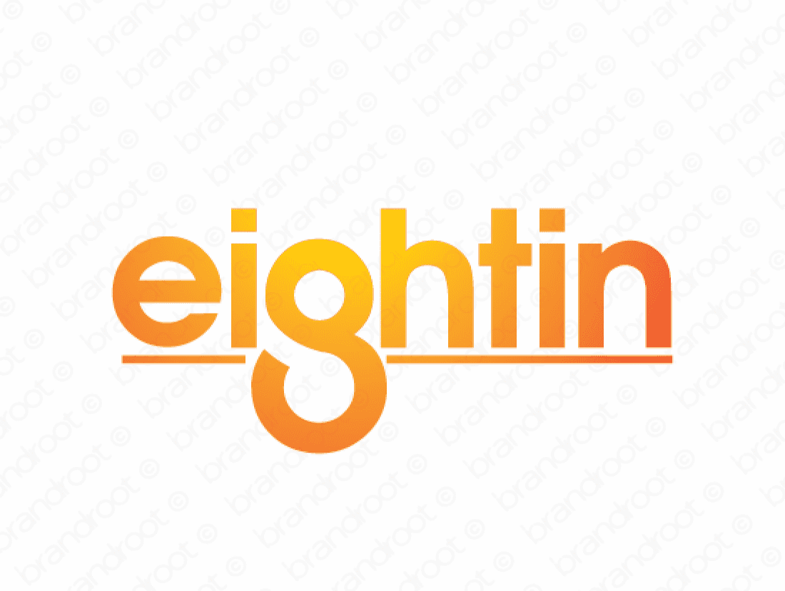 Eightin logo design included with business name and domain name, Eightin.com.