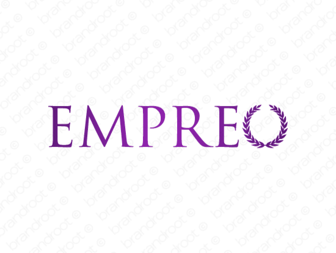 Empreo logo design included with business name and domain name, Empreo.com.