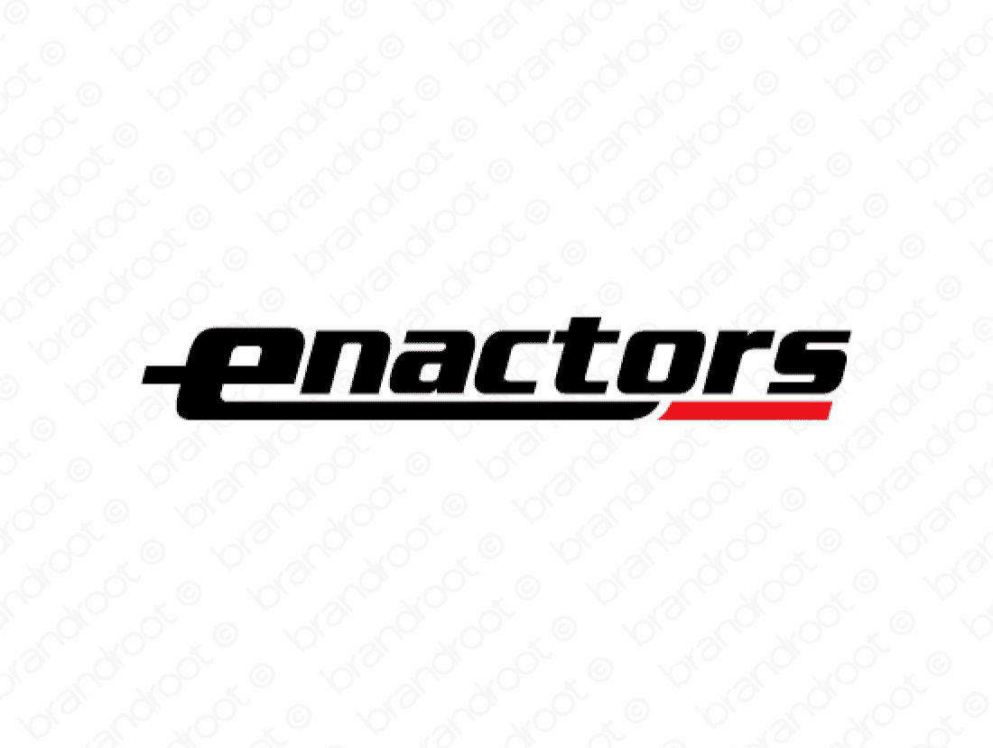 Enactors logo design included with business name and domain name, Enactors.com.