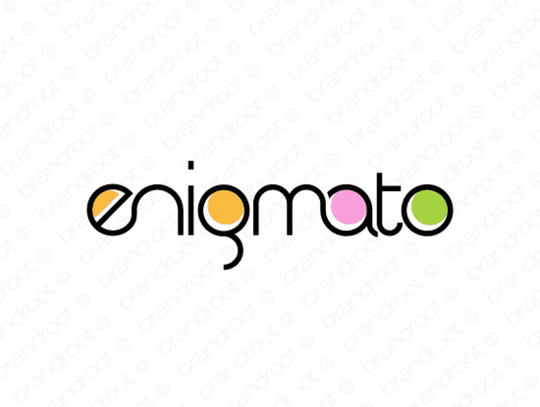 Enigmato logo design included with business name and domain name, Enigmato.com.