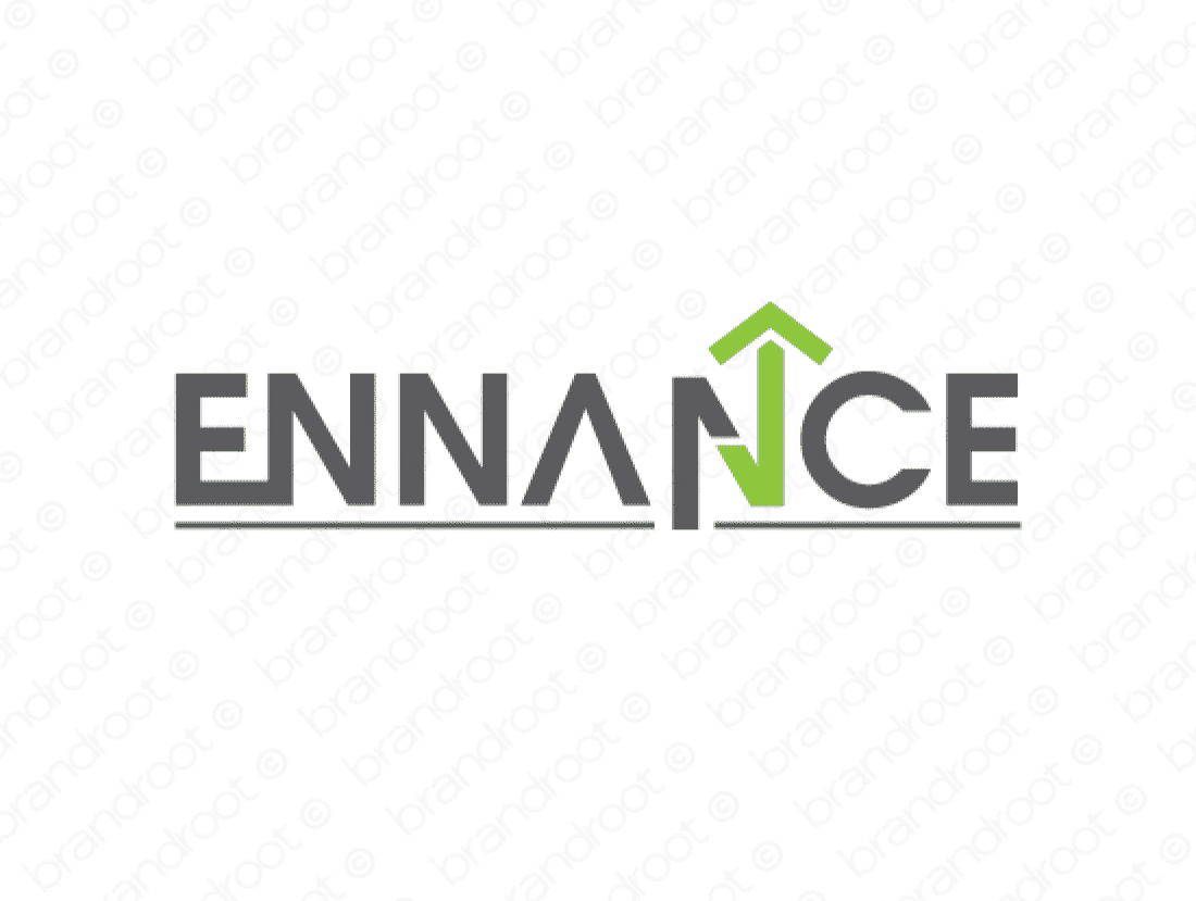Ennance logo design included with business name and domain name, Ennance.com.