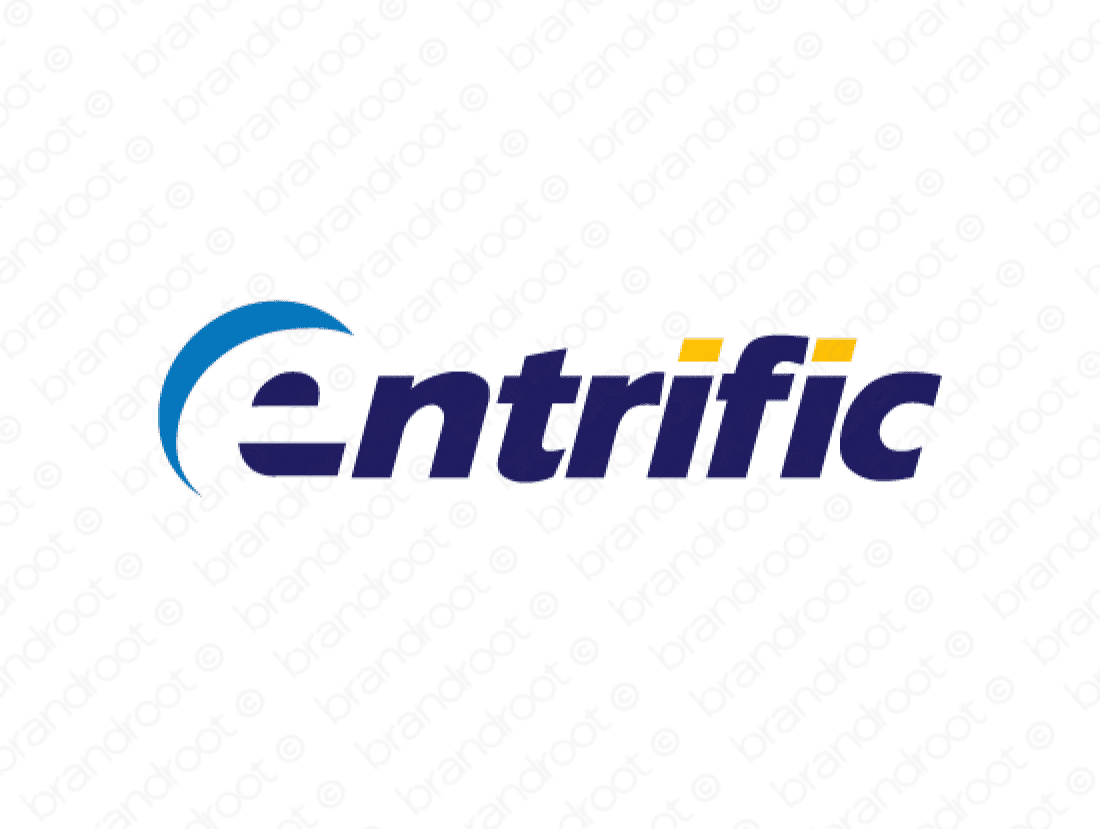 Entrific logo design included with business name and domain name, Entrific.com.