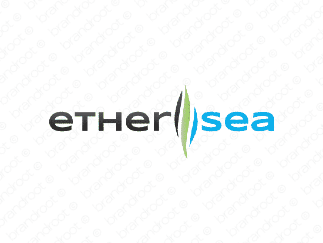 Ethersea logo design included with business name and domain name, Ethersea.com.