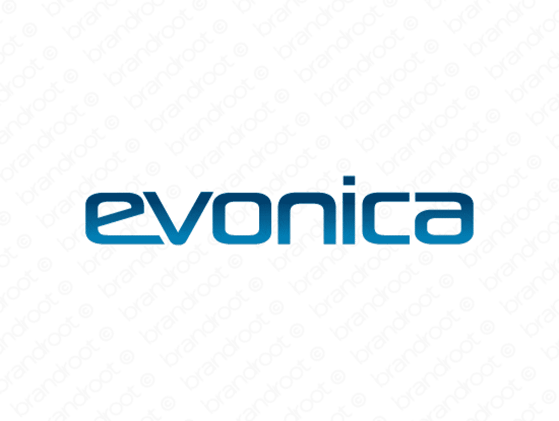 Evonica logo design included with business name and domain name, Evonica.com.