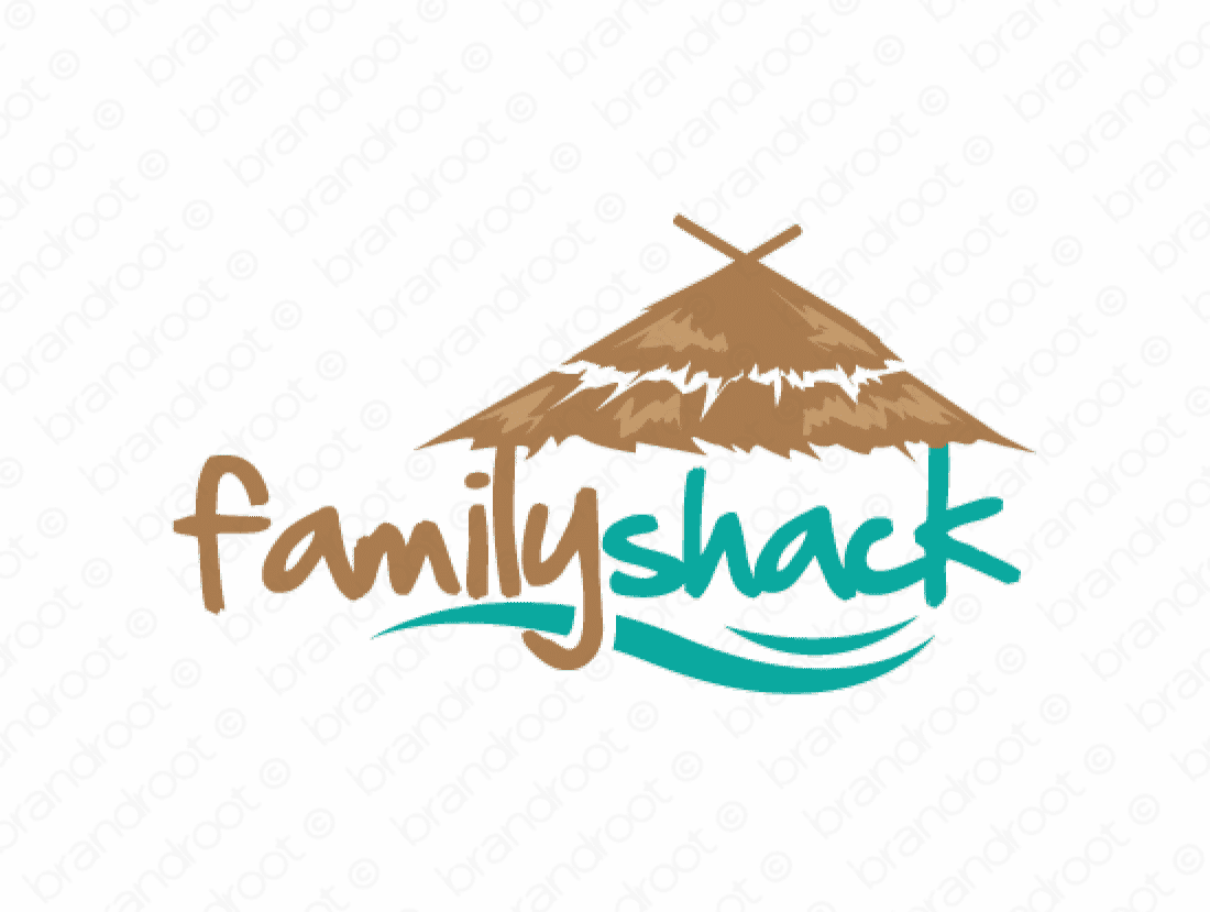 Familyshack logo design included with business name and domain name, Familyshack.com.
