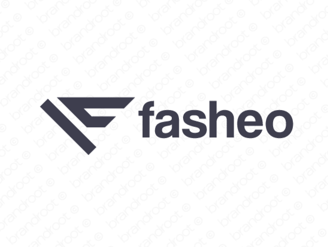 Fasheo logo design included with business name and domain name, Fasheo.com.